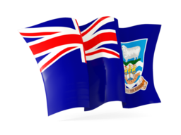 falkland islands waving flags