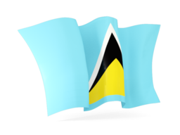 saint lucia waving flags