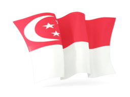 singapore waving flags